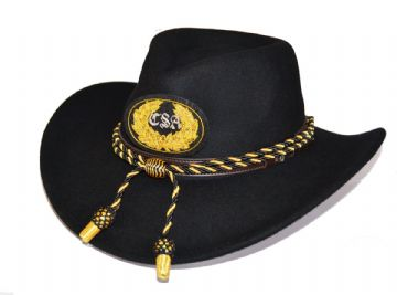 Confederate Black Slouch Hat Black Gold Cord & CSA Badge